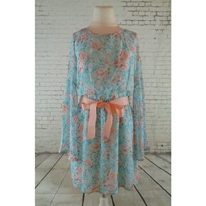 Feathers Floral Bell Sleeve Dress